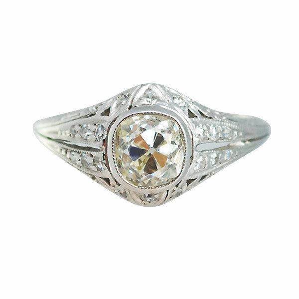 Antique Art Deco Platinum 1.08ct Cushion Cut Diamond Ring