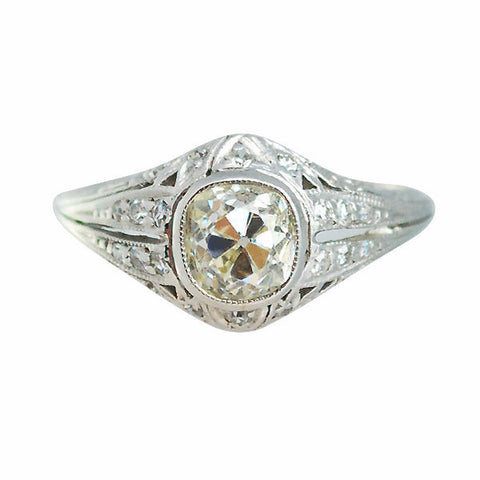 Antique Edwardian Platinum & 1.08ct Cushion Cut Diamond Ring