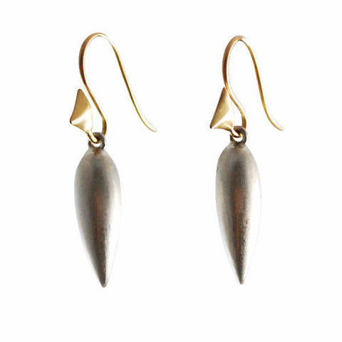 Gillian Conroy 14k Thorn Hooks with Silver Elongated Bud Drops