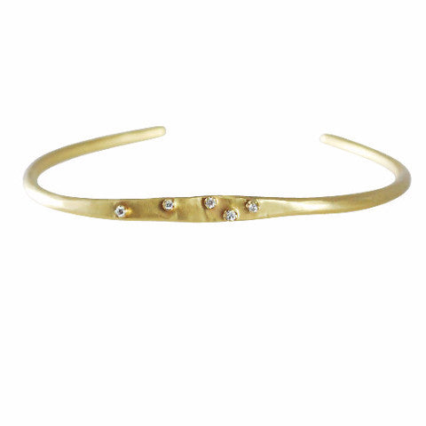 Rebecca Overmann 14k Forged Tiny Prong Sprinkle Cuff with Diamonds