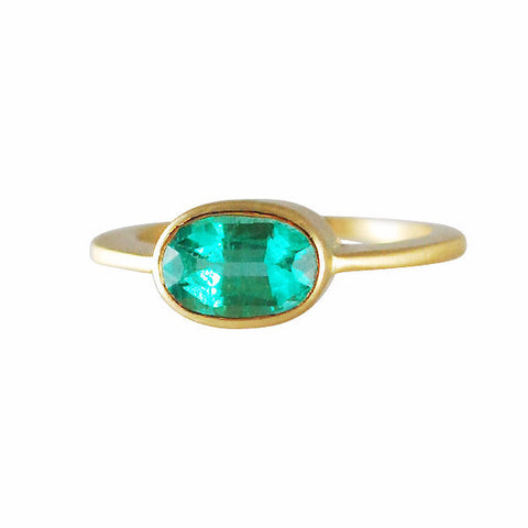 Gillian Conroy 18k Oval Emerald Ring 1.34ct