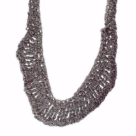 Arielle de Pinto Oxidized Sterling Ruffled Necklace in Midnight 28""