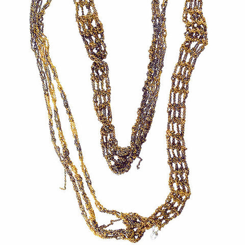 Arielle de Pinto Burnt Gold Slim Necklace 40""