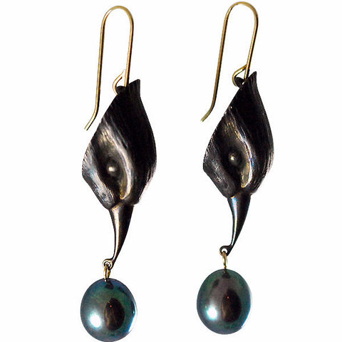 Gabriella Kiss Oxidized Bronze Bird Heads with Black Pearls Earrings