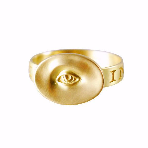 "Gabriella Kiss 10k Small Eye Love Token Ring Inscribed with ""Invigilare"""