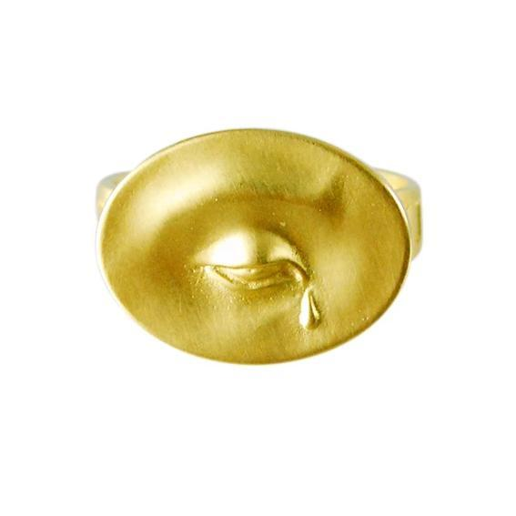 "Gabriella Kiss 18k Large Crying Eye Ring Inscribed with ""Nil Nisi Cruce"""