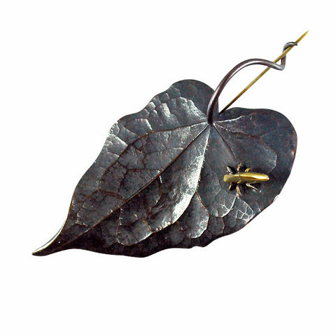 Gabriella Kiss Bronze Leaf Pin with 18k Leafhopper