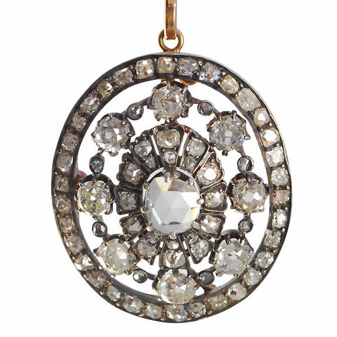 Antique Victorian 15k Gold and Diamond Pendant