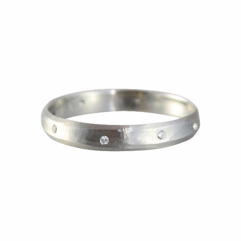 Rebecca Overmann 14k Oxidized White Gold Stream Band w/ Eight Diamonds