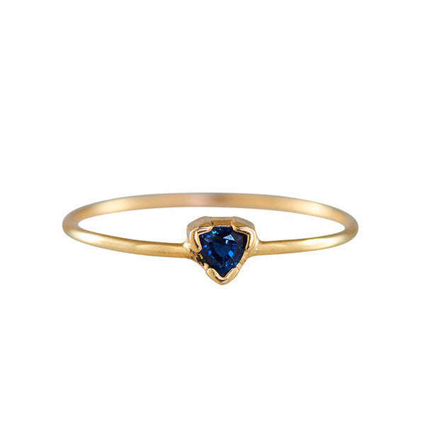 B.C.E. Jewelry 14k Trillion Cut Blue Sapphire Ring
