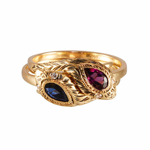 Louison Fine 14k Rhodolite Garnet and Sapphire Entwined Snakes Ring