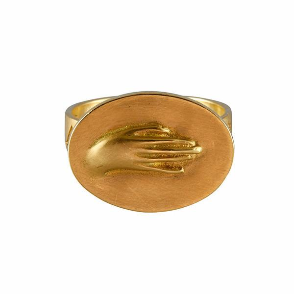 "Gabriella Kiss 18k Large Token Hand Ring Inscribed with ""Amicitia"""