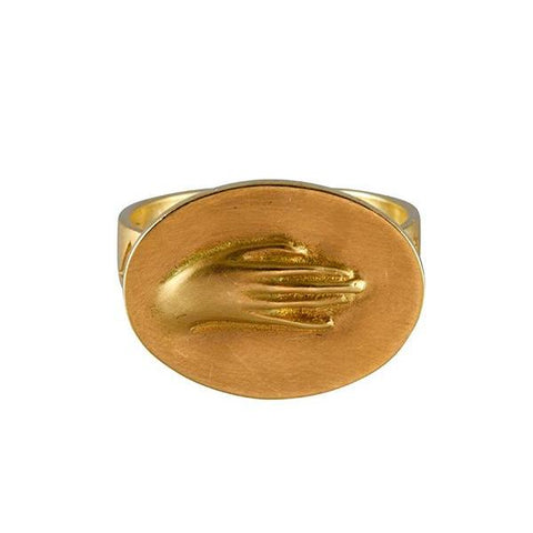 "Gabriella Kiss Large 10k Hand Ring Inscribed with ""Amicitia"""