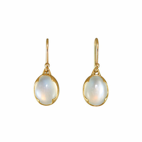 Gabriella Kiss 18k Oval Bella Luna Moonstone Earrings