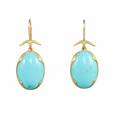 Gabriella Kiss 18k Gold Turquoise Scalloped Prong Earrings