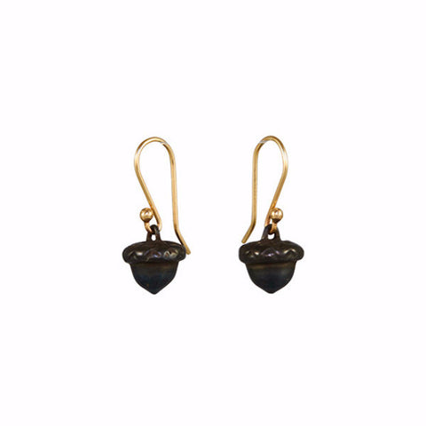 Gabriella Kiss Oxidized Bronze Baby Acorn Earrings on 14k Wire