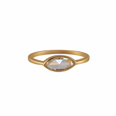Gillian Conroy 18k Marquise Rose Cut White Diamond RIng