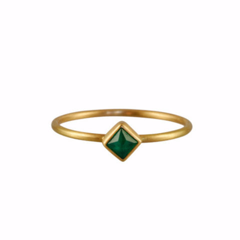 Gabriella Kiss 18k Diamond Shaped Small Emerald Ring