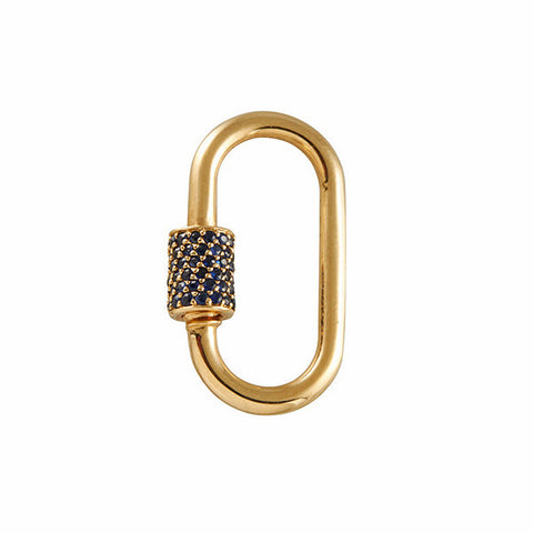 Marla Aaron 14k Medium Stoned Lock with Pave Blue Sapphires