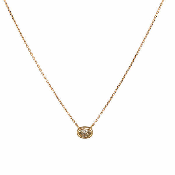 "B.C.E. Jewelry 14k Oval Champagne Diamond Necklace 16"", 0.41cts"