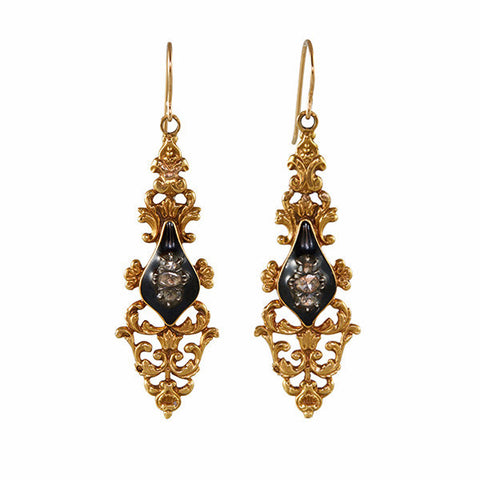 Antique Georgian Diamond & Black Enamel Drop Earrings BLACK