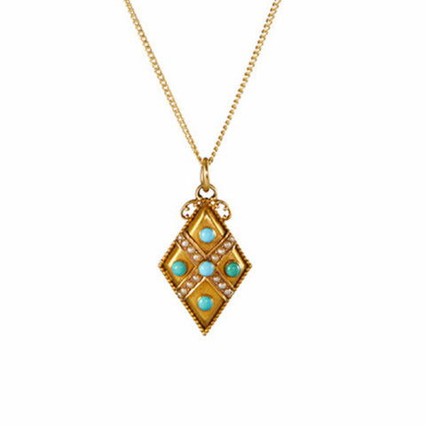 Antique Victorian Turquoise and Pearl Diamond Shaped Pendant