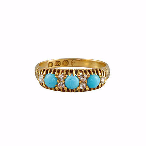 Antique Victorian 18k Diamond & Turquoise Cabochon Ring