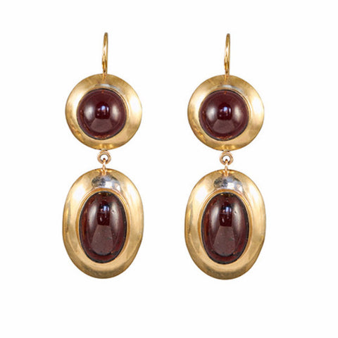 Antique Turn of the Century 14k Garnet Cabochon Earrings