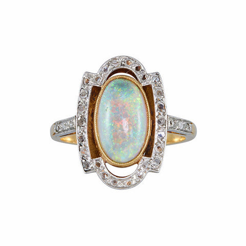 Antique Art Deco 18k Diamond & Opal Ring