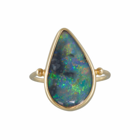 B.C.E. 14k Rainbow Opal Teardrop Ring
