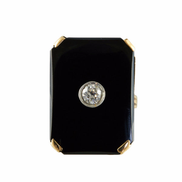 Antique Deco 10k Gold and Onyx with Euro Cut Diamond Ring