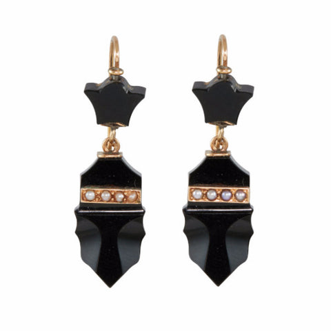 Victorian Onyx, Gold & Seed Pearl Drop Earrings