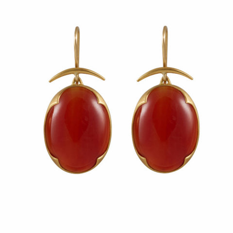 Gabriella Kiss 18k Scalloped Carnelian Earrings
