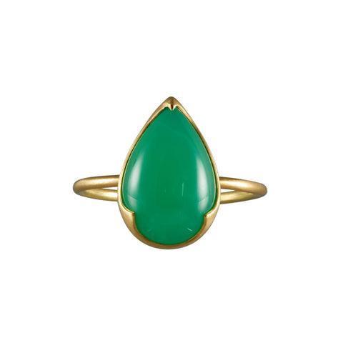 Gabriella Kiss 18k Large Pear Shaped Chrysoprase Ring