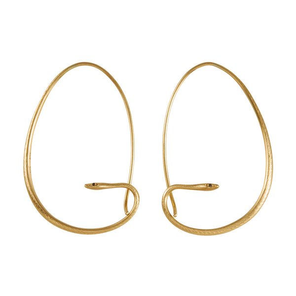 Gabriella Kiss 18k Small Snake Hoops with Diamond Eyes