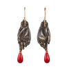 Gabriella Kiss Oxidized Bronze Hand Earrings with Coral Drops