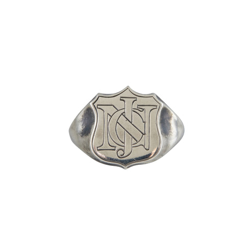 Chris Neff Sterling Silver Shield Signet Ring with Roman Engraving