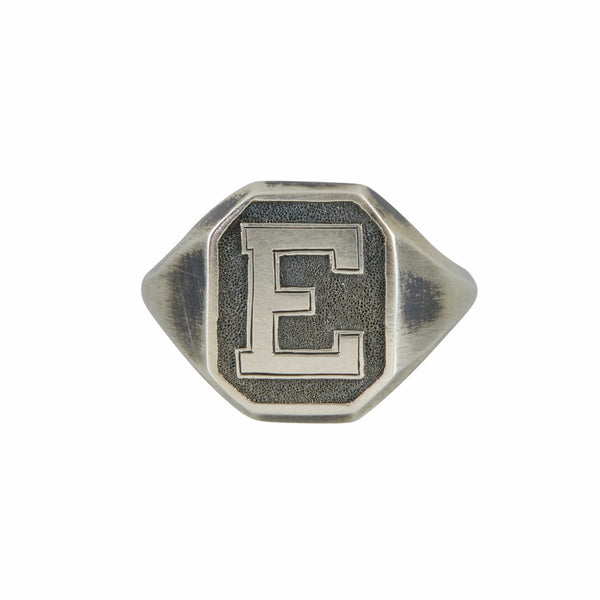 Chris Neff Sterling Silver Rectangle Signet Ring with Varsity Engraving