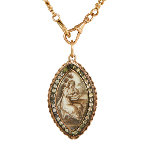 Antique Georgian Gold, Sepia & Paste Pendant