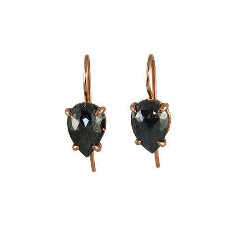 Gillian Conroy 18k Rose Gold & Rose Cut Black Diamond Earrings
