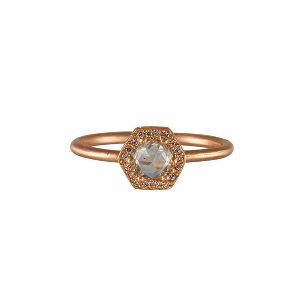 Rebecca Overmann 14k Diamond Hexagon Halo Ring