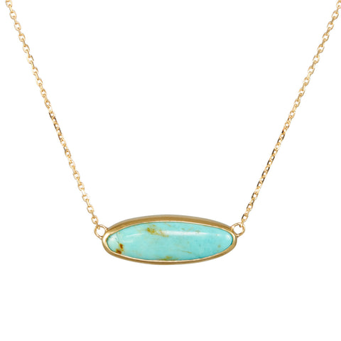 B.C.E. Jewelry 14k Long Oval Kingman Turquoise Necklace