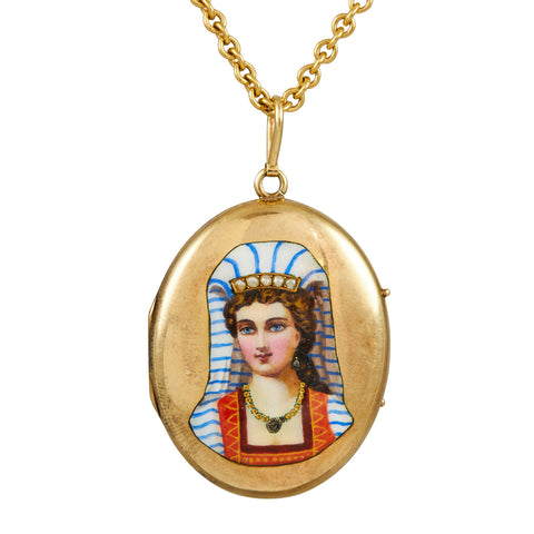 Antique Egyptian Revival 14k Enamel and Diamond Locket