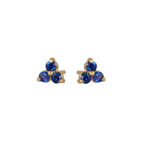 B.C.E. Jewelry 14k Triple Sapphire Stud Earrings