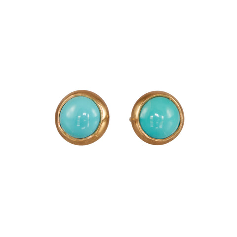 B.C.E. Jewelry 14k Pair of Turquoise Bezel Set Earrings