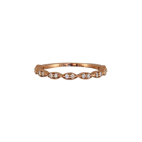 Gillian Conroy 14k Rose Gold Zoe Marquise Diamond Half Hoop Band