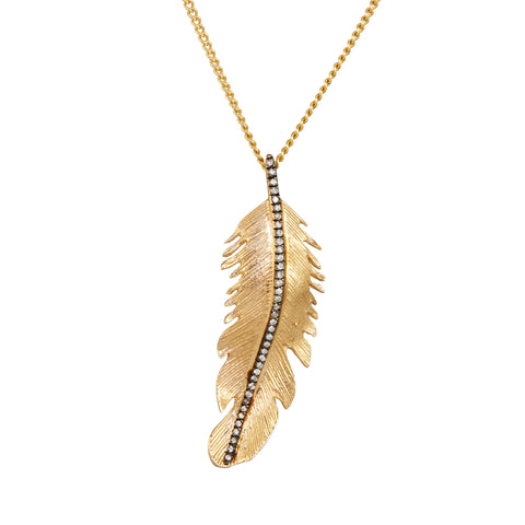Louison Fine 14k Antiqued Diamond Feather Pendant