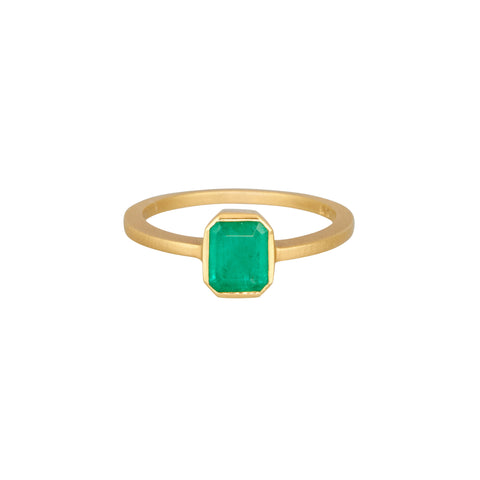 Gillian Conroy 18k Cushion Cut Columbian Emerald Ring