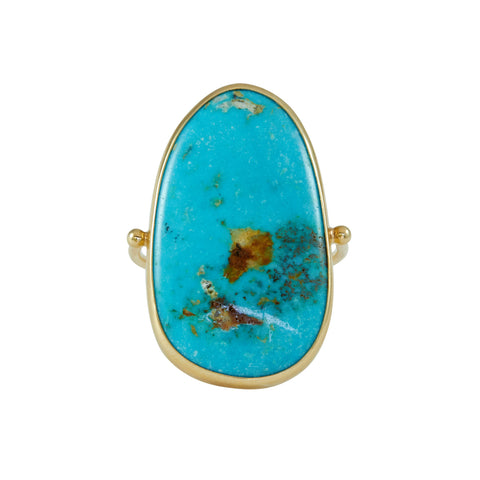 B.C.E. Jewelry 14k Kingman Turquoise with Wheat-Colored Flecks Ring