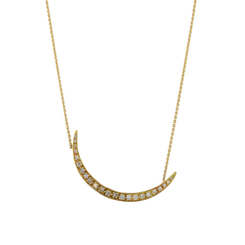 Gillian Conroy 14k Gold and Diamond Crescent Moon Pendant Necklace